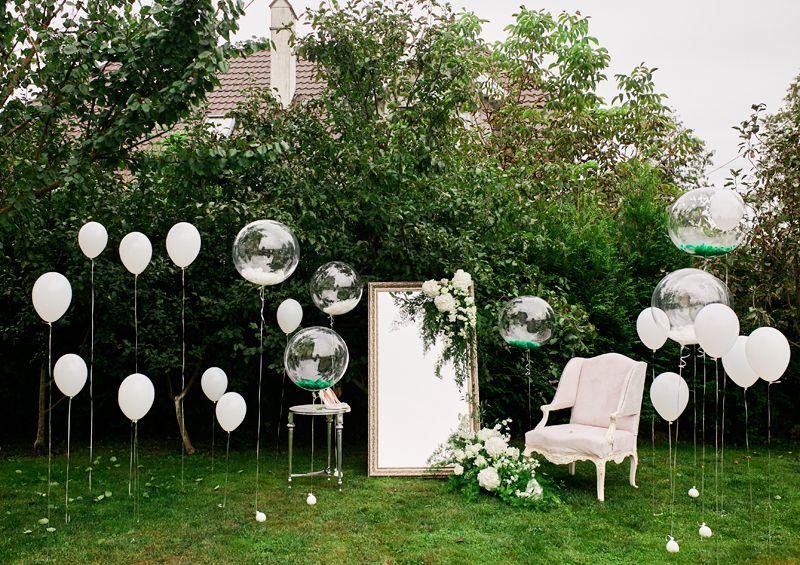 украшение зала воздушными шарами на свадьбу